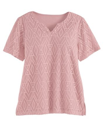 Alfred Dunner Short-Sleeve Diamond Lace Top - Image 1 of 5