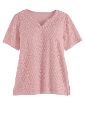 Alfred Dunner Short-Sleeve Diamond Lace Top