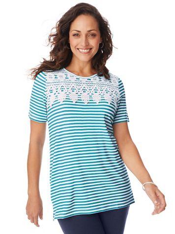 Short-Sleeve Lace Overlay Tunic - Image 1 of 4