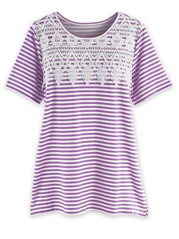 Short-Sleeve Lace Overlay Tunic - Image 1 of 2