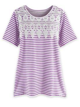Short-Sleeve Lace Overlay Tunic