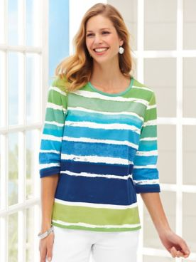 Three-Quarter Sleeve Watercolor-Stripe Tunic