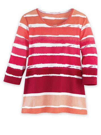Three-Quarter Sleeve Watercolor-Stripe Tunic - Image 1 of 1
