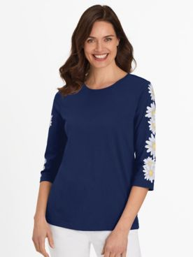 Three-Quarter Sleeve Print Knit Top