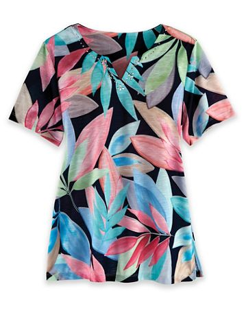 Alfred Dunner Short-Sleeve Print Knit Top - Image 2 of 2