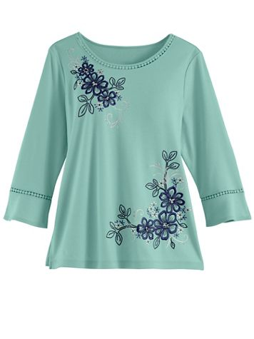 Alfred Dunner Embroidered Knit Top - Image 2 of 2