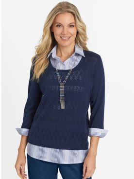 Alfred Dunner Layered-Look Sweater