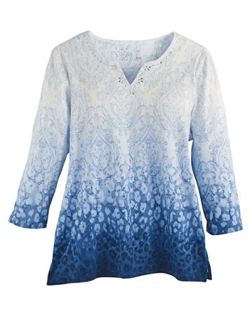 Alfred Dunner® Ombré Medallion Knit Top - Image 2 of 2