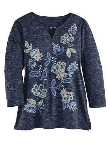 Alfred Dunner® Floral Embroidered Top - Image 2 of 2