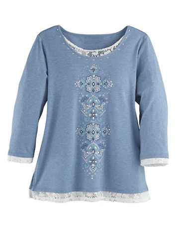 Alfred Dunner® Layered-Look Embroidered Top - Image 2 of 2