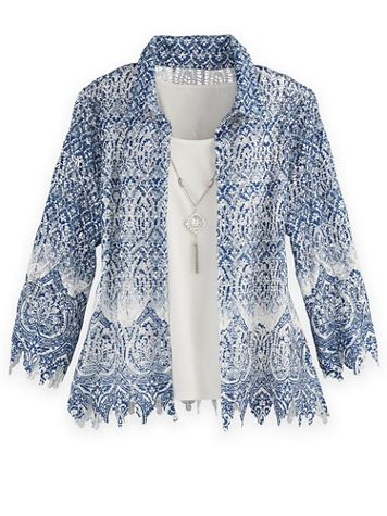 Alfred Dunner® Medallion Border Lace Two-For-One Top - Image 1 of 1
