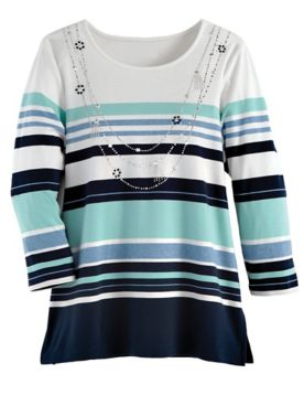 Alfred Dunner Striped Knit Top