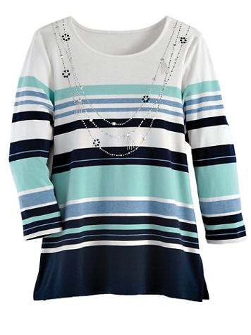 Alfred Dunner Striped Knit Top - Image 2 of 2