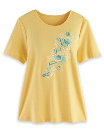 Short-Sleeve Embroidered Top - Image 1 of 4