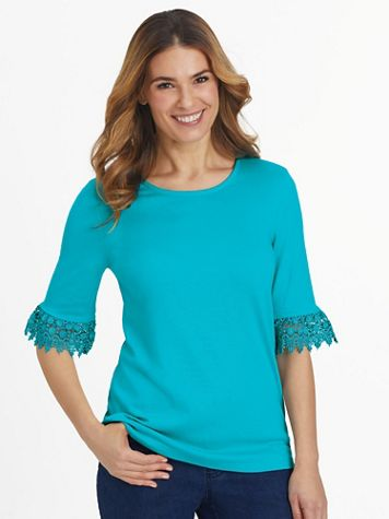Essential Knit Elbow-Length Flounce-Sleeve Top - Image 1 of 5