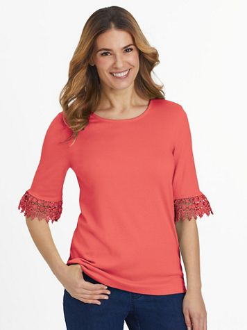 Essential Knit Elbow-Length Flounce-Sleeve Top - Image 1 of 4