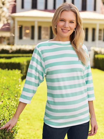 Three-Quarter Sleeve Boatneck Knit Top - Image 1 of 9