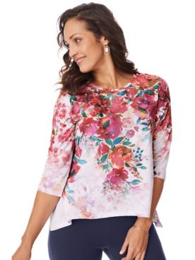 Three-Quarter Sleeve Floral Print Tunic