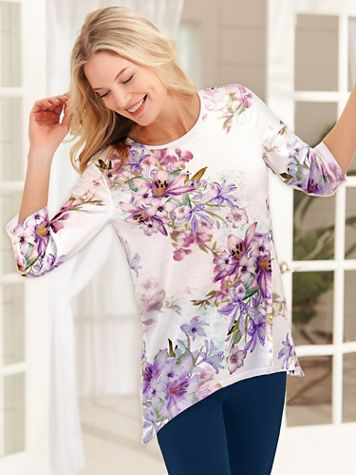 Three-Quarter Sleeve Floral Print Tunic - Image 2 of 2