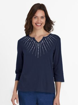 Alfred Dunner Three-Quarter Sleeve Sunburst Embellished Top