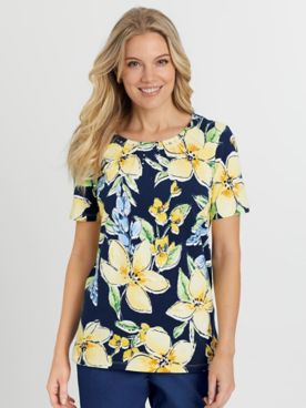 Alfred Dunner Short-Sleeve Tossed Floral Knit Top