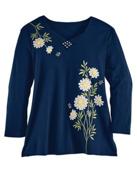Alfred Dunner Three-Quarter Sleeves Daisies Knit Top