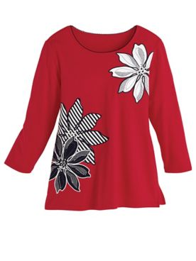 Alfred Dunner® Three-Quarter Sleeve Appliqué Knit Top
