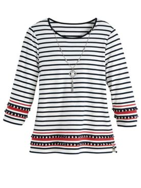 Alfred Dunner® Three-Quarter Sleeve Border-Stripe Top