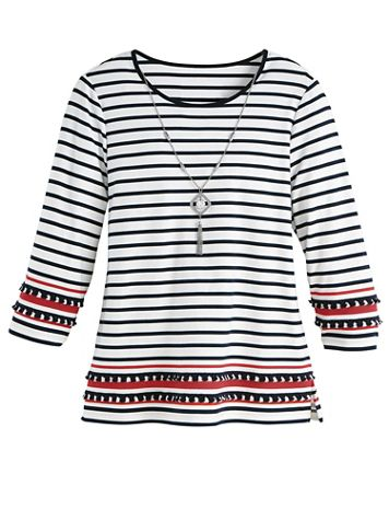Alfred Dunner® Three-Quarter Sleeve Border-Stripe Top - Image 2 of 2