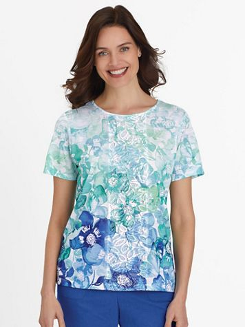 Alfred Dunner Short-Sleeve Ombré Flowers Knit Top - Image 3 of 3