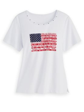 Alfred Dunner Flag Knit Top