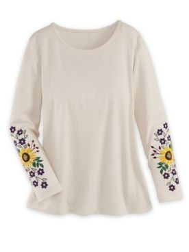 Long-Sleeve Embroidered Knit Top