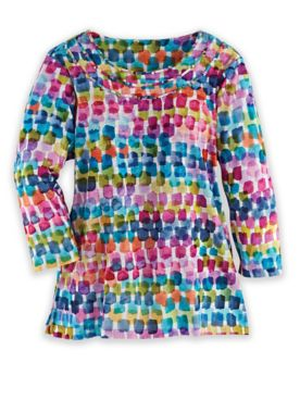 Alfred Dunner Three-Quarter Sleeve Watercolor Chicklet Top