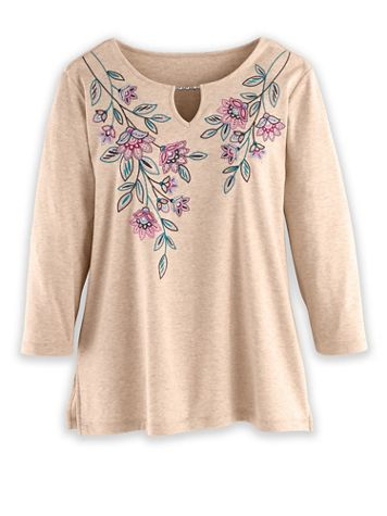 Alfred Dunner Three-Quarter Sleeve Floral Embroidered Top - Image 1 of 1