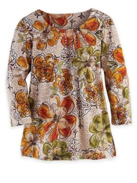 Alfred Dunner Three-Quarter Sleeve Floral Texture Top