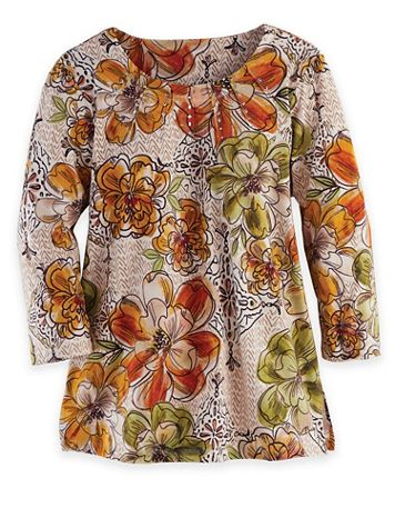Alfred Dunner Three-Quarter Sleeve Floral Texture Top - Image 2 of 2