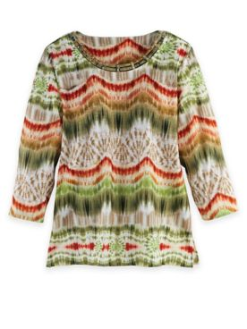 Alfred Dunner Three-Quarter Sleeve Ikat Biadere Top
