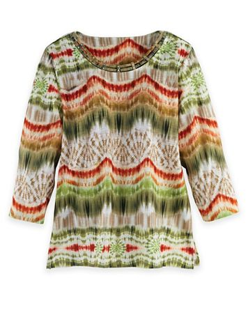 Alfred Dunner Three-Quarter Sleeve Ikat Biadere Top - Image 2 of 2
