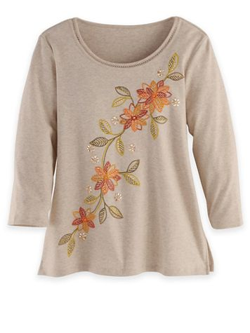 Alfred Dunner Three-Quarter Sleeve Floral Embroidered Top - Image 2 of 2