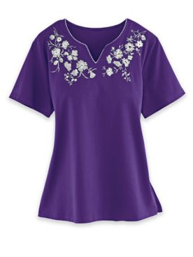 Alfred Dunner Embroidered Knit Tops