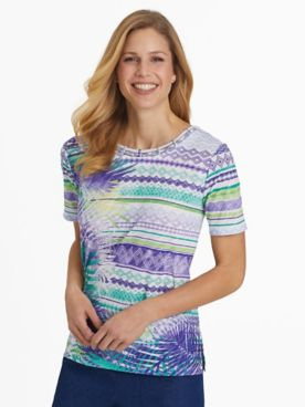 Alfred Dunner Leaf Biadere Top