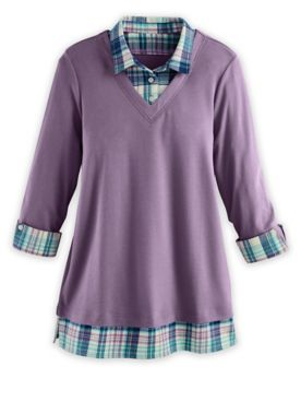 Three-Quarter Sleeve Layered-Look Flannel-Trim Top