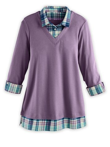 Three-Quarter Sleeve Layered-Look Flannel-Trim Top - Image 2 of 3