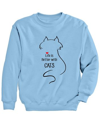 Graphic Sweatshirt-Cats - Image 2 of 2