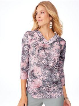 Three-Quarter Sleeve Seasonless Silky-Knit Blouse
