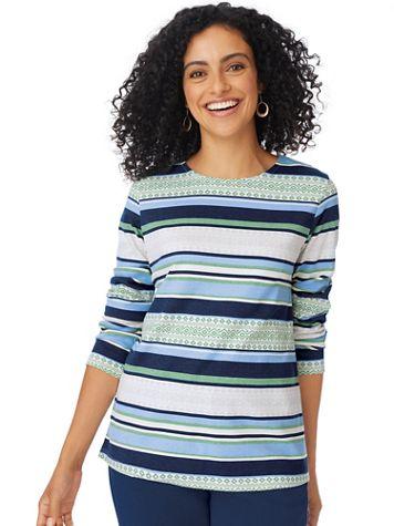 Long-Sleeve Textured-Look Stripe Tee - Image 1 of 4