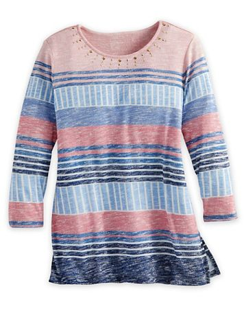 Alfred Dunner Three-Quarter Sleeve Stripe Knit Top - Image 2 of 2