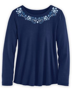 Long-Sleeve Curved-Hem Embroidered Top