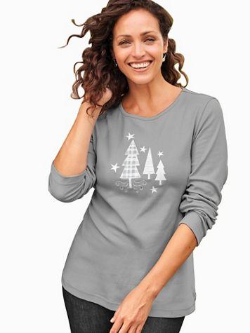 Long-Sleeve Holiday Embellished Tee - Image 1 of 3