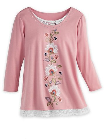 Alfred Dunner®Scroll Embroidered Knit Top - Image 1 of 1
